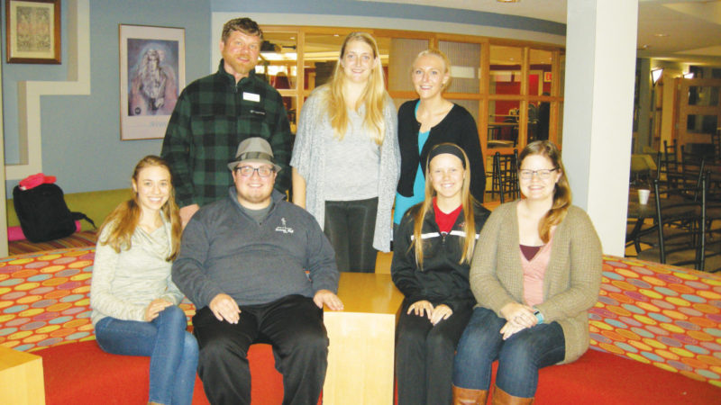 File Photo Pictured in the front row are Lutheran Campus Ministry interns Cassie Stauffer, Adam Barden, Paige Dolan and Karen Langemo; back row, Rev. Christoph Schmidt, intern Nicole Klug and Dominique Buchholz, vocational internship director. The group is organizing an event celebrating the arts, For the Love of Arts, at Zion Lutheran Church on March 25.