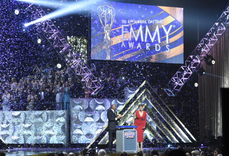 "Steve Harvey, left, and Tyra Banks appear at the 42nd annual Daytime Emmy Awards in Burbank, Calif.  CBS led with 70 nominations overall while its daytime drama ""The Young and the Restless"" led with 25 nods when nominations were announced Wednesday, March 22, 2017, for the 44th Annual Daytime Emmy awards.  The awards ceremony will air April 30. (Photo by Chris Pizzello/Invision/AP, File)"