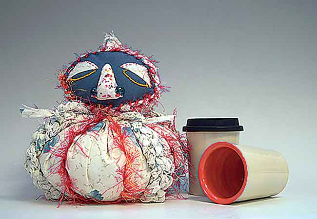 Submitted Photo  Fabric and ceramic monster by Rachel Alfaro; mugs by Kalyn Dewitt.