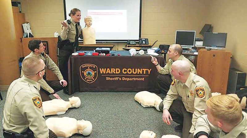 Submitted Photo Over the course of 18 years, St. Joseph's Community Health Foundation continues to provide financial gifts that provide life-saving tools and  defibrillators to the Ward County Sheriff's Department.