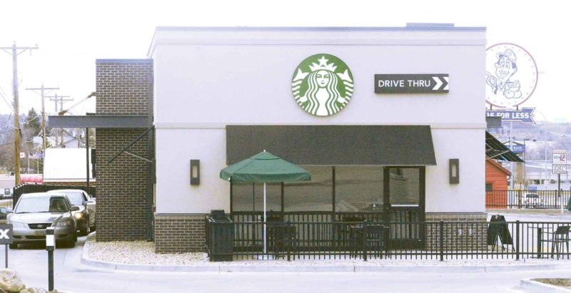 Mark Jones/MDN Starbucks recently moved to 1340 South Broadway from its old location on Burdick Expressway near the Minot Municipal Auditorium.