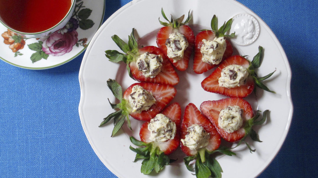 This 2017 photo shows Italian stuffed strawberries in New York. This dish is from a recipe by Sara Moulton. (Sara Moulton via AP)