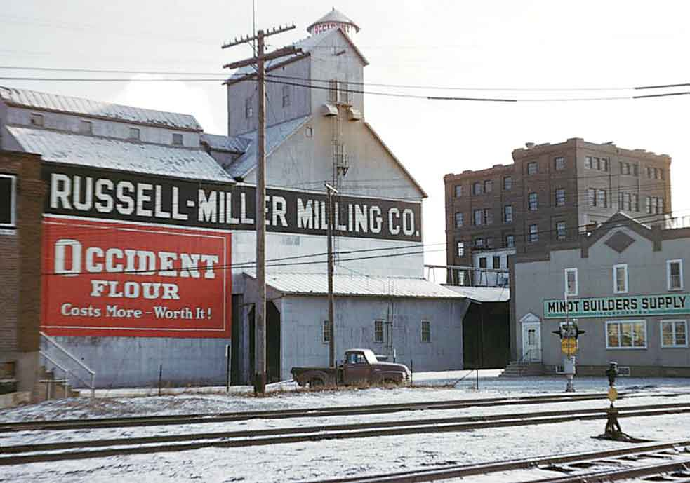 Submitted Photo The original Minot flour mill is shown in the 1950s after it had been sold to the Russell Miller company.