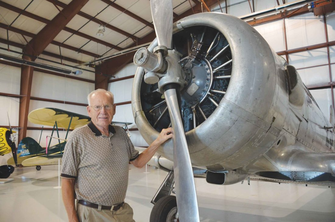 Eloise Ogden/MDN Don Larson, president of the Dakota Territory Air Museum board of directors, is shown in the air museum. The museum is in its 31st year of operation.