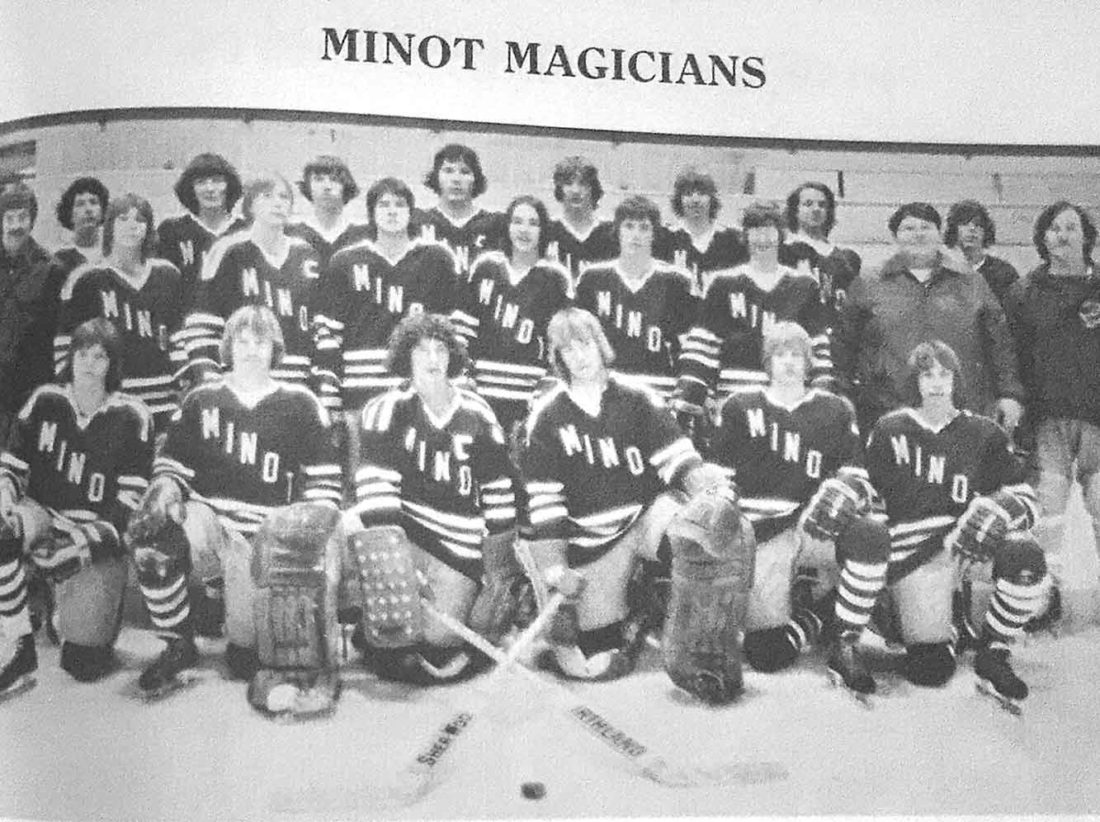 Submitted Photo This was the first Minot High School hockey team to play in the new All Seasons Arena on the State Fairgrounds. The Magician's initial season of indoor hockey was in the 1975-76 school year.