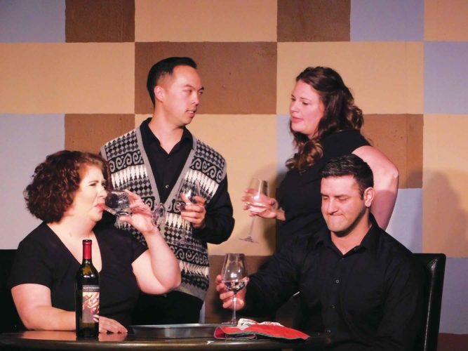 "Submitted Photo From left to right, Ashlee Donovan, Khang Nguyen, Stephanie Chell and Eric Fetske share a bottle of wine in the comedic musical ""I Love You, You're Perfect, Now Change."""