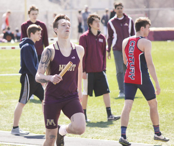 Alex Eisen/MDN Minot High junior Logan Goheen runs the first leg of the 4x800 relay at the Duane Carlson Invitational held earlier this season in Minot. Goheen holds the fastest seed time for the Class A boys 400-meter run going into the state tournament this weekend.