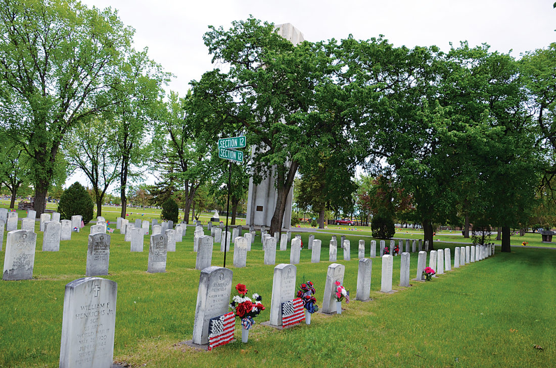 Eloise Ogden/MDN Minot's Memorial Day program will be held on Monday at the original Veterans Section in Rosehill Memorial Park in Minot, shown in this photo taken Thursday.