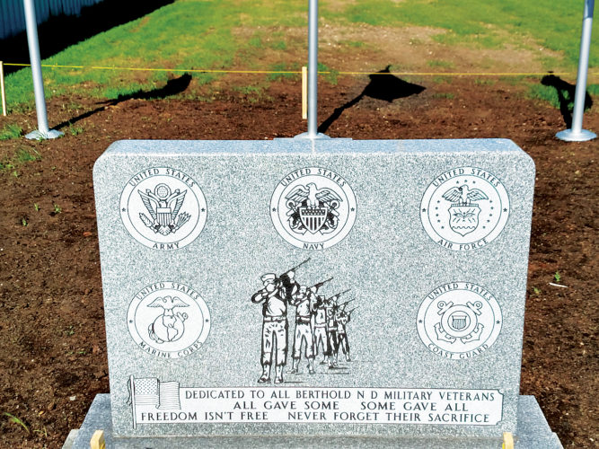 Submitted Photos The Veterans Memorial Area with a monument, benches and flagpoles will be dedicated on Memorial Day in Berthold.