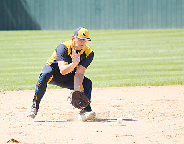 Alex Eisen/MDN MLSGKB shortstop Talon Thompson fields a ground ball on Saturday in the seventh-place game at the Class B state baseball tournament at Jack Brown Stadium.