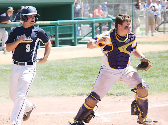 Alex Eisen/MDN Bishop Ryan catcher Joey Zeece (right) gets the force out at home plate ahead of Shiloh Christian's Canaan Fagerland (9) in a Class B state baseball tournament fifth-place game on Saturday at Jack Brown Stadium in Jamestown.