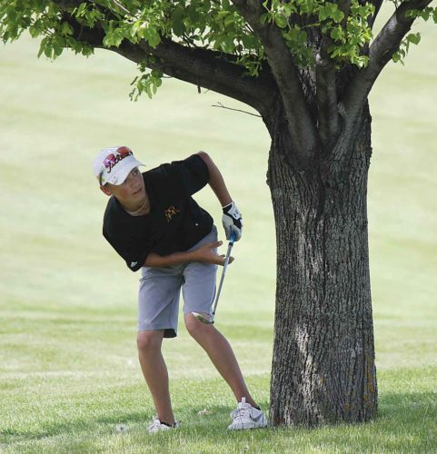 Alex Eisen/MDN Minot High junior Damyn Boyce chips the ball around a tree on hole No. 9 in the Class A boys state golf tournament on Monday in Grand Forks.