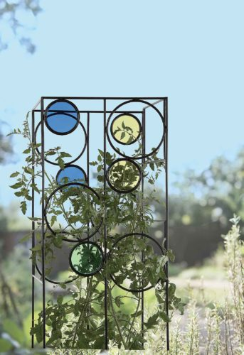 The Kaleidoscope Tomato Cage provides a sturdy support for tomato plants while adding color to the landscape. Photo from Gardener's Supply Company.  SubmittedPhoto