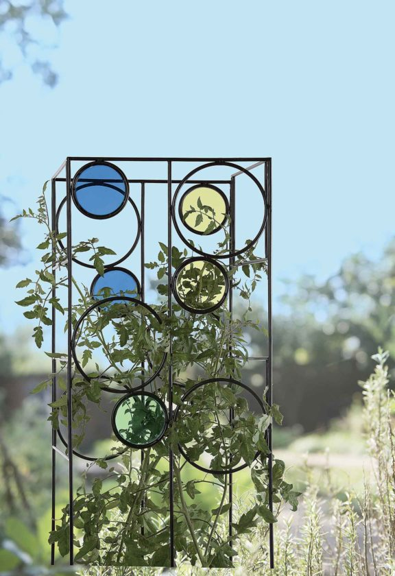 The Kaleidoscope Tomato Cage provides a sturdy support for tomato plants while adding color to the landscape. Photo from Gardener's Supply Company.  Submitted Photo