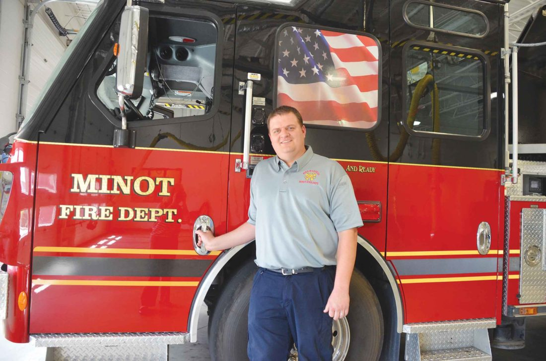 Eloise Ogden/MDN   City Fire Marshal Brian Andersen, with the Minot Fire Department, is shown at Station 1. Andersen said the City of Minot website is a good tool for information on placement and other guidelines for recreational fires.