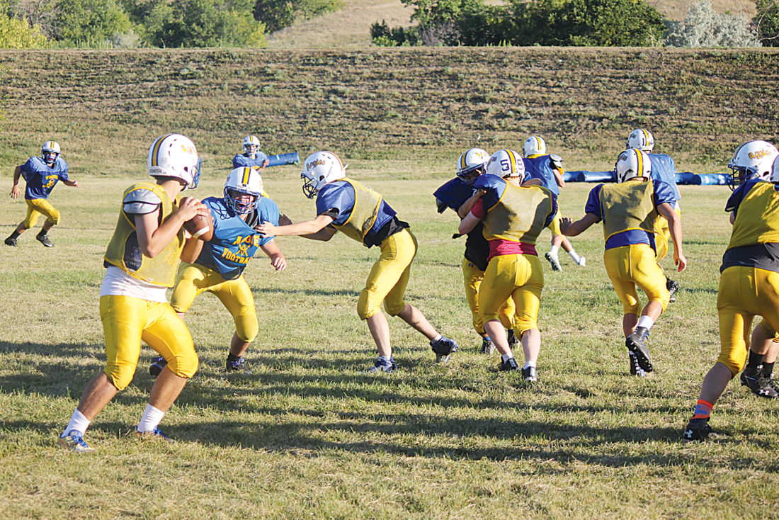 Alex Eisen/MDN Velva senior Justin Helseth explodes off the line and around the offensive guard in pursuit of quarterback Nicholas Effertz during a preseason practice last season.