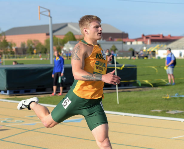 Submitted Photo NDSU sophomore sprinter Karter Gorney, a Minot native, competes in a 200-meter dash earlier this season. Photo courtesy of NDSU athletics.