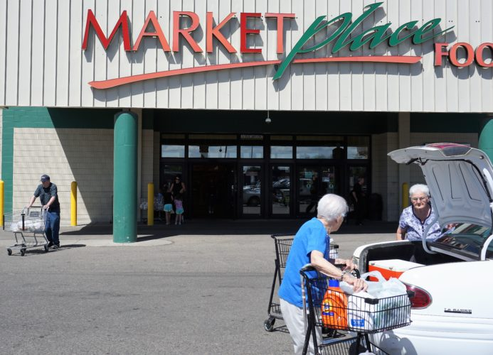 Jill Schramm/MDN MarketPlace Foods in Minot is popular with seniors on Thursday.
