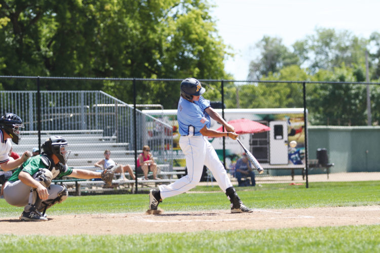 Photos courtesy of Sean Arbaut Minot's Lofton Klabunde connects with a pitch during a Legion baseball game Sunday at Corbett Field in Minot.