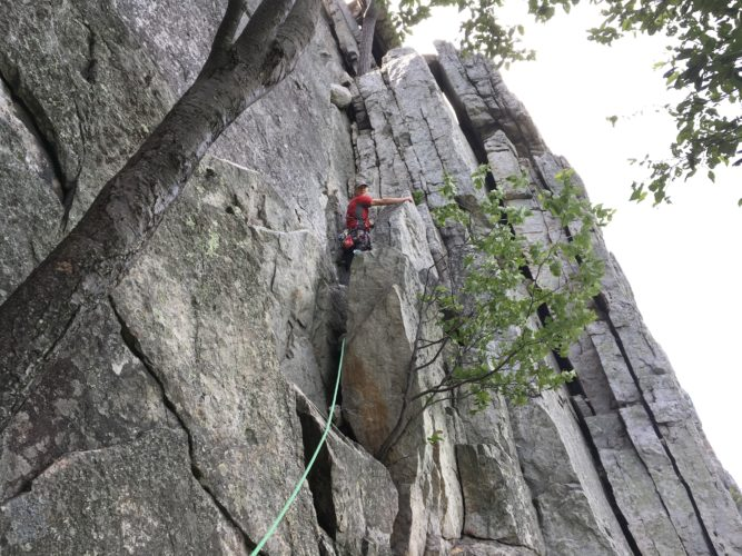 In this June 25, 2017 photo climber Phil Brown climbs the vertical pitch of Old Man's Route high on the west face of Seneca Rocks in West Virginia. Considered an easy climb, the route ends on the shelf near the upper tree. (AP Photo/Michael Virtanen)