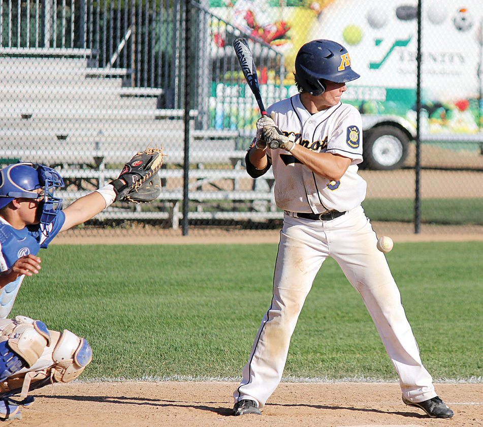 Alex Eisen/MDN Vistas Johnny Tubbs (3) gets hit by a pitch in the sixth inning of Game 1 against Jamestown on Friday in Minot.