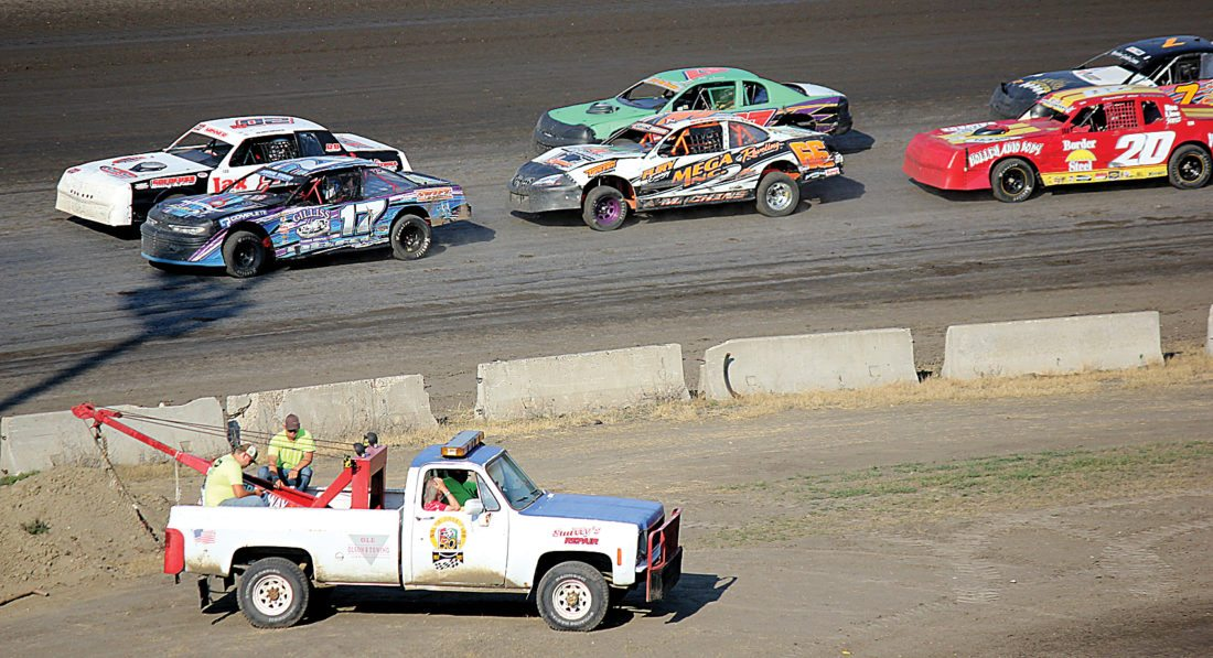 Alex Eisen/MDN IMCA Stock Cars get ready to take the green flag in a heat race Sunday night at Nodak Speedway.