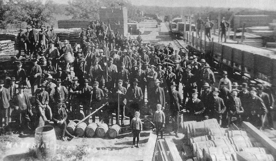 File Photo This photo is of Minot in 1886, showing materials shipped to Minot for the big railroad push to the west.