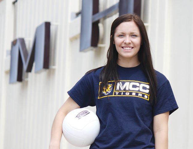 Alex Eisen/MDN Minot High graduate Darrien Nelson will play collegiate volleyball at Marshalltown Community College in Iowa this fall.