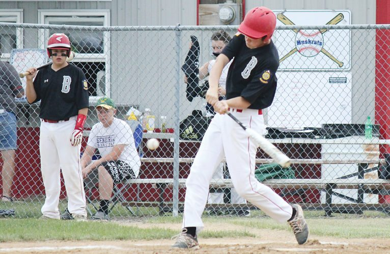 Alex Eisen/MDN Burlington's Jarrett Vendsel swings and makes contact on Thursday for a two-run double in the first inning against Stanley in the American Legion Class B West Region baseball tournament in Lansford.