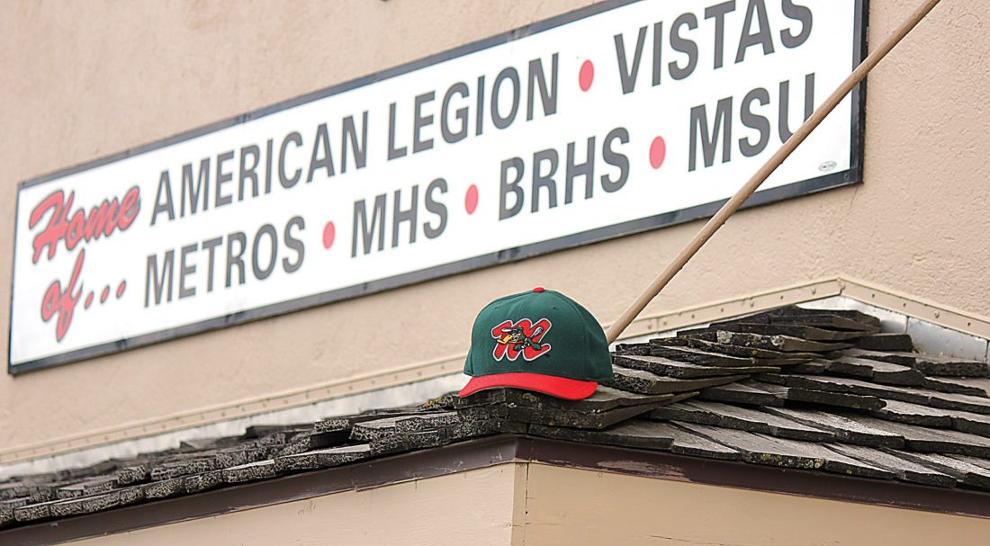 Alex Eisen/MDN A Minot Mallards baseball cap sits perched on a roof overhang at the entrance of Corbett Field, formerly known as the Minot Municipal Ballpark. The Mallards once called this stadium home decades ago.