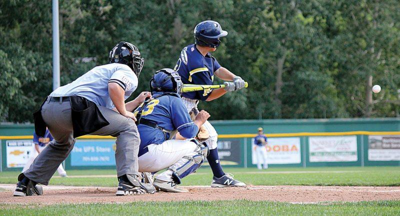 Alex Eisen/MDN Minot Metros' Zach Pedersen swings at a pitch in a game earlier this season at Corbett Field.