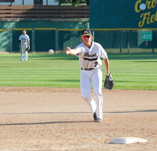 Alex Eisen/MDN   Minot Vistas' Lofton Klabunde tosses the ball to his pitcher running over to cover first base in an American Legion baseball game played earlier this season at Corbett Field in Minot.