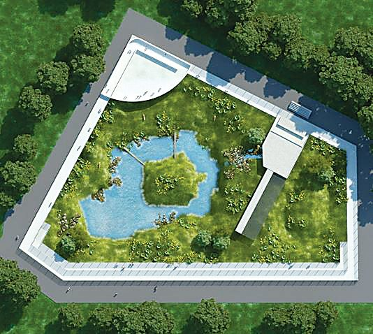 Submitted Photo A conceptual drawing of a proposed tiger habitat shows the type of project planned for the Roosevelt Park Zoo.