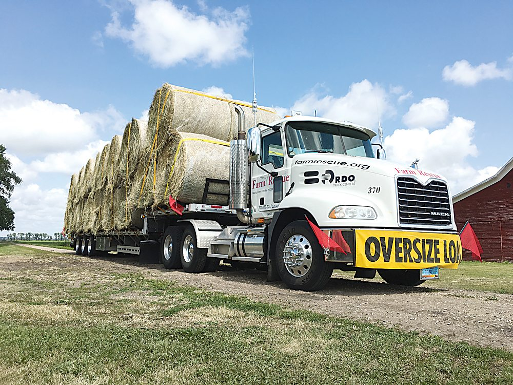 Submitted Photo Farm Rescue is assisting with hay shortage in the wake of the drought. The nonprofit organization has already transported loads of bales to several ranchers affected by drought but more donated or discounted hay is needed to accommodate the shortage.