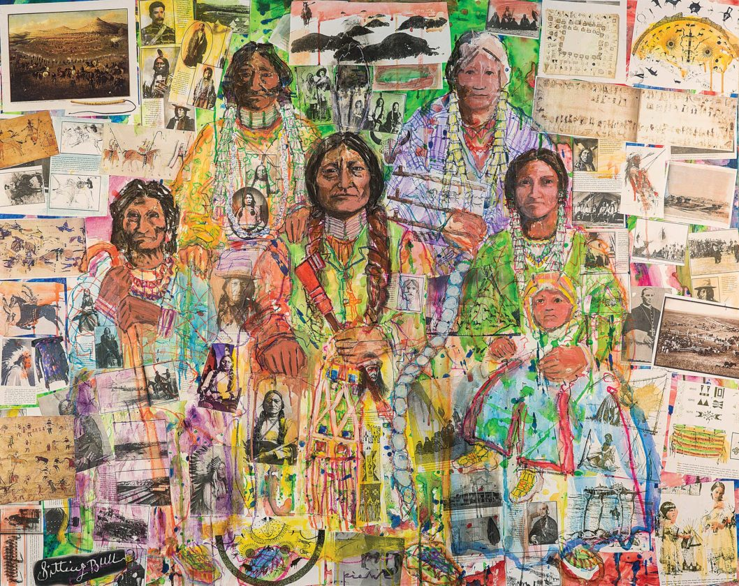 """Submitted Photo This photo is of a painting, """"Family Portrait: Northern Plains National Heritage Area Suite,"""" featuring Sitting Bull and his family by Minot artist Walter Piehl. The painting is in the featured exhibit at the Lewis & Clark Interpretive Center, Washburn."""