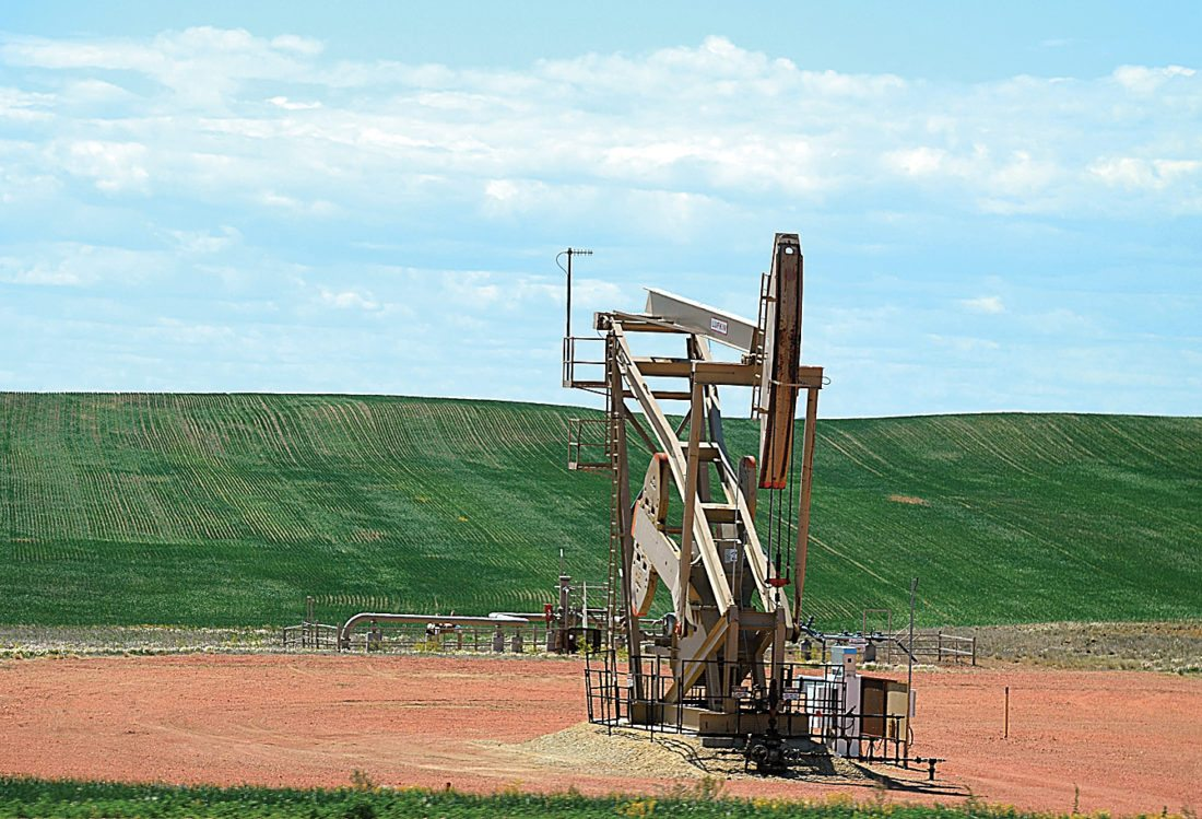 Eloise Ogden/MDN North Dakota's oil and natural gas production shows a decrease. This pumping unit is in the Medora area.