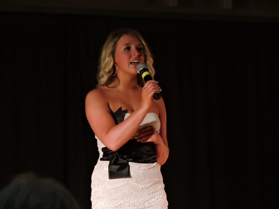 Kim Fundingsland/MDN Shania Murphy performed a vocal during the talent competition portion of the Miss Minot pageant at the State Fair Center late Saturday.