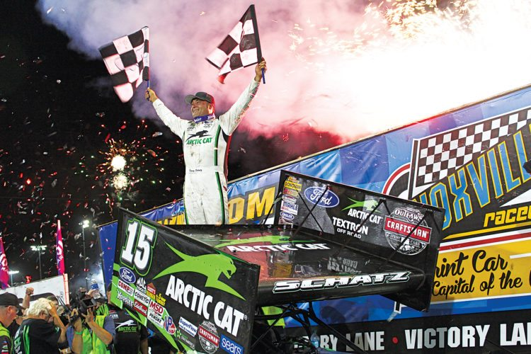 Submitted Photo Donny Schatz celebrates in victory lane after winning his 10th Knoxville Nationals title last weekend. Schatz concludes his World of Outlaws homecoming tour to North Dakota this evening at Nodak Speedway.