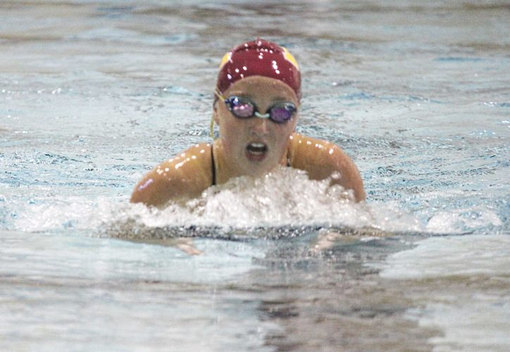 Alex Eisen/MDN Minot High junior Rylie Webb competes in the 200-yard individual medley Tuesday during an intrasquad scrimmage in Minot.