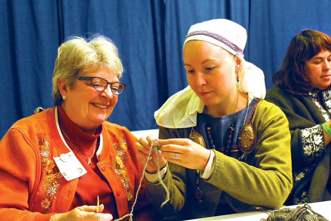 Submitted Photo Students learn nalbinding in Kelsey Patton's class at Høstfest University.