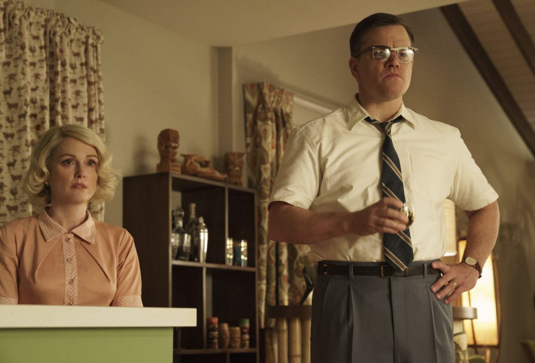 "This image released by Paramount Pictures shows  Julianne Moore, left, and Matt Damon in a scene from ""Suburbicon."" (Hilary Bronwyn Gayle/Paramount Pictures via AP)"