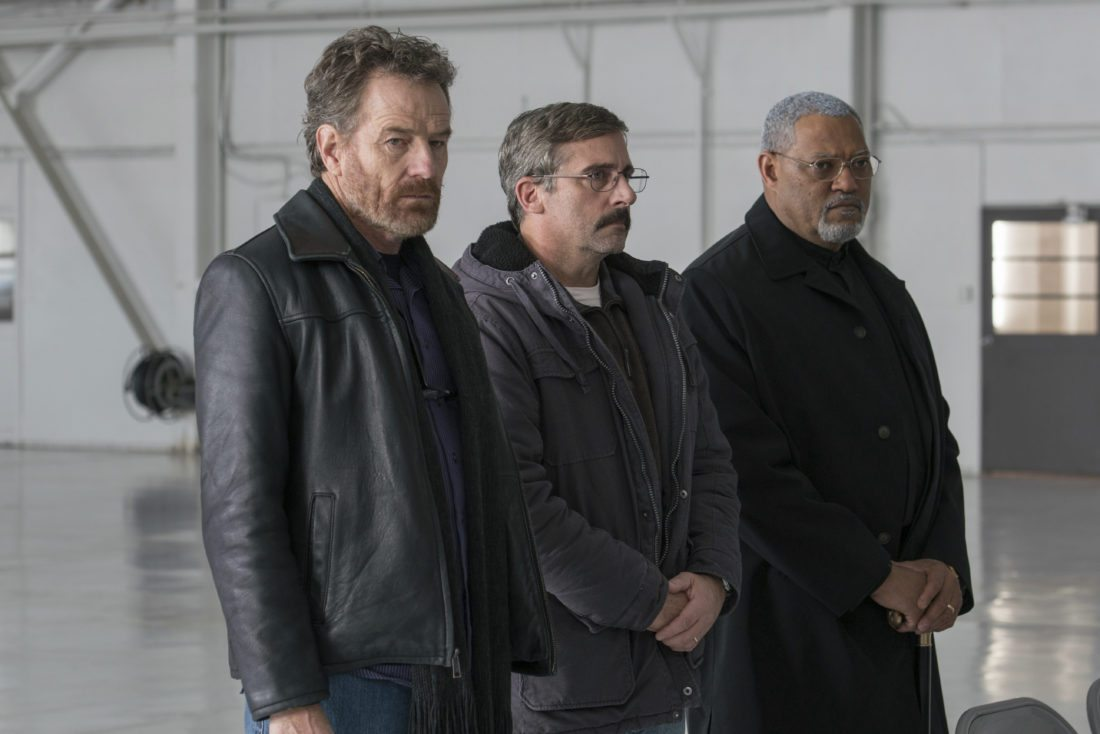 "This image released by Lionsgate shows Bryan Cranston, from left, Steve Carrell and Laurence Fishburne in a scene from Last Flag Flying.""  (Wilson Webb/Lionsgate via AP)"