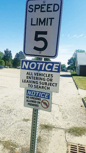 Andrea Johnson/MDN Notice signs outside Minot High School-Souris River Campus are pictured on Thursday.