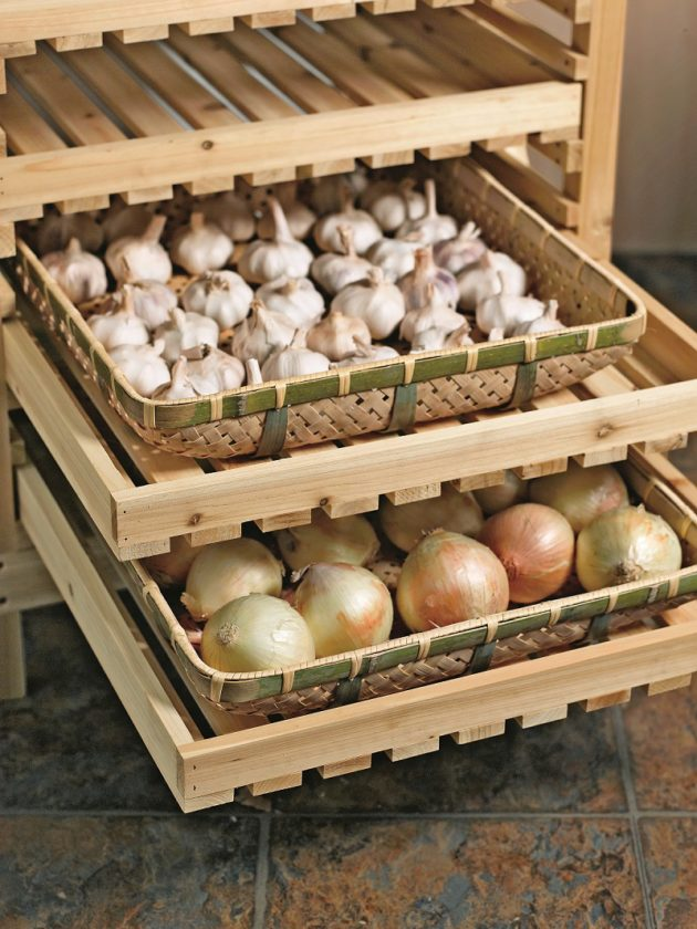 Submitted Photo Orchard racks and other storage solutions for fresh produce increase storage longevity while maximizing space shown in this photo from Gardener's Supply Co.
