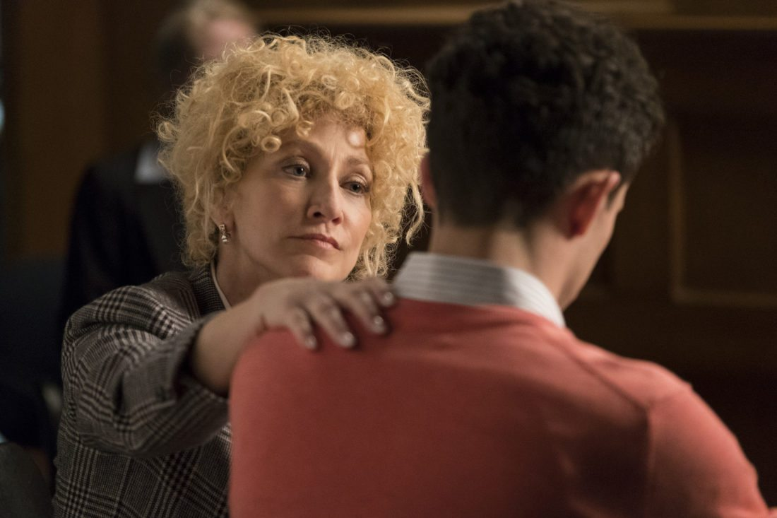 """This image released by NBC shows Edie Falco as Leslie Abramson in a scene from """"Law & Order True Crime: The Menendez Murders,"""" premiering Sept. 26 on NBC. (Justin Lubin/NBC via AP)"""
