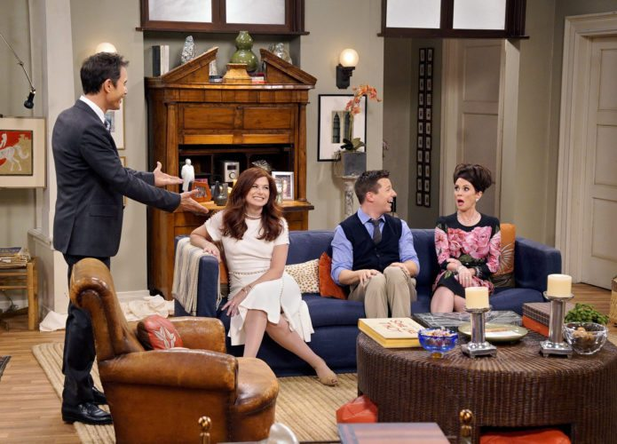 "This image released by NBC shows, from left, Eric McCormack, Debra Messing, Sean Hayes and Megan Mullally in ""Will & Grace,"" premiering Sept.  28, on NBC. (Chris Haston/NBC via AP)"