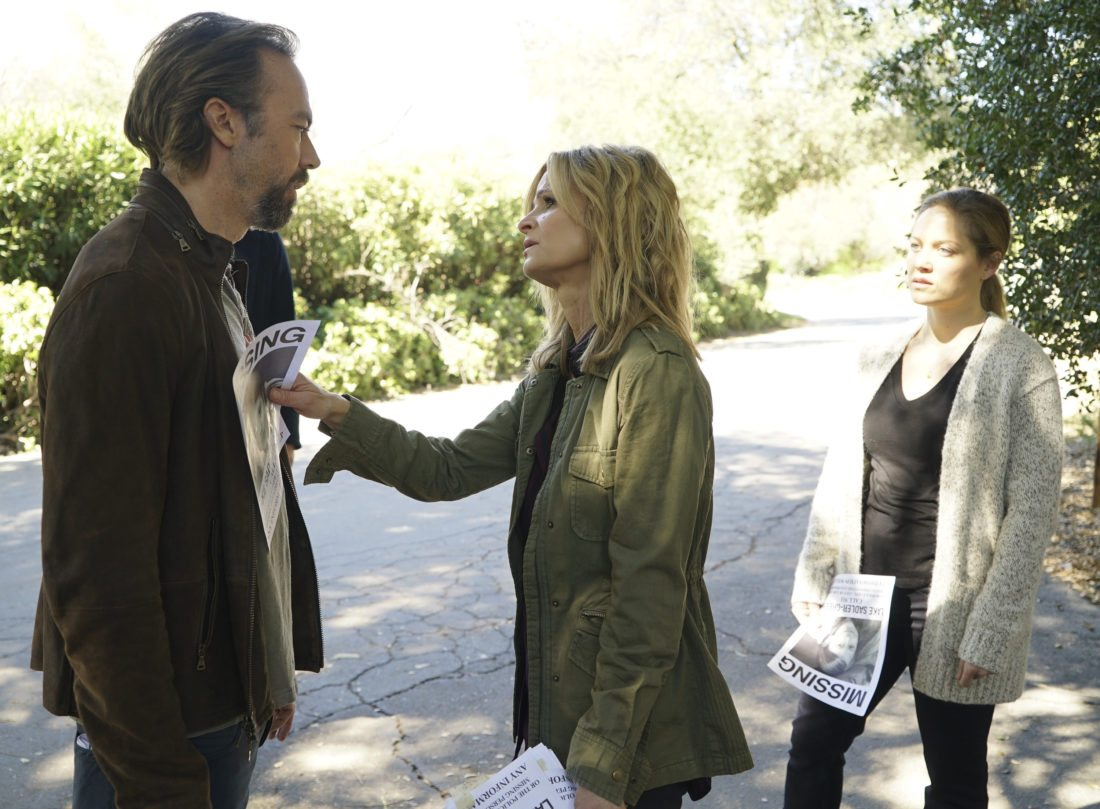 """This image released by ABC shows Kick Gurry, from left, Kyra Sedgwick and Erika Christensen in a scene from, """"Ten Days in the Valley,"""" premiering Oct. 1 on ABC. (Eric McCandless/ABC via AP)"""