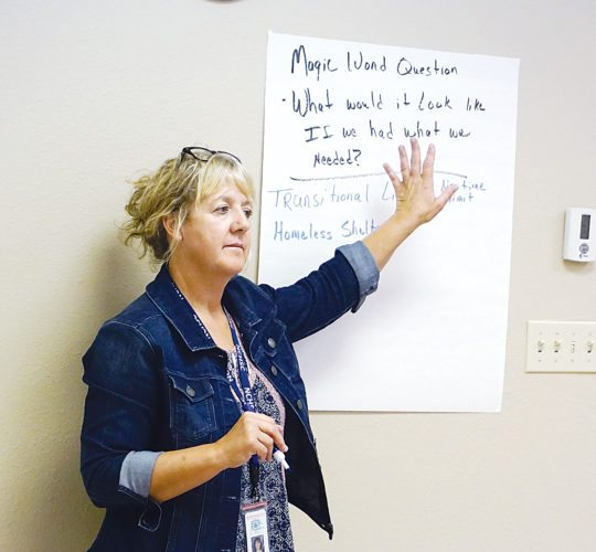 Jill Schramm/MDN Laurie Gotvaslee solicits comments at an addiction subcommittee meeting Thursday on a vision for treatment and family services.