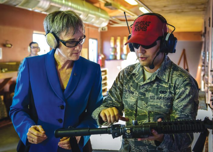 Submitted Photo Secretary of the Air Force Heather Wilson met with airmen from Minot Air Force Base Thursday and Friday, shown in this photo by Senior Airman Apryl Hall.