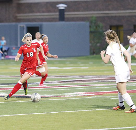 Sean Arbaut/Minot State athletics Minot State's Haley Berryman (18) controls the ball during a college soccer game Friday at Herb Parker Stadium in Minot.